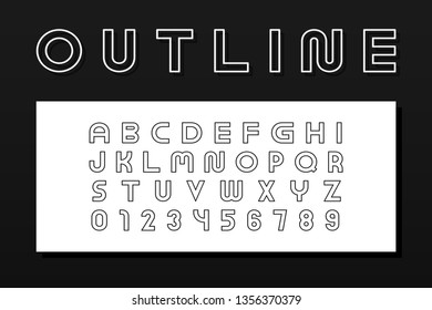 Vector outline modern font. Trendy english contour alphabet. Simple minimalistic latin letters and numerals. New creative signs typeface