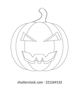vector outline on the pumpkin coloring. Happy Halloween, Jack O Lantern
