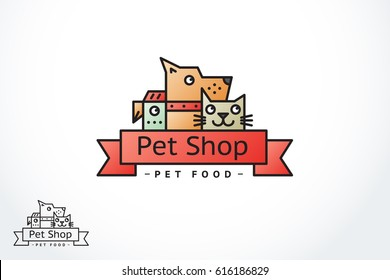 A vector outline pet store logo or a veterinary clinic in a modern flat style. A dog, a cat, a parrot with a ribbon under the name of the store.