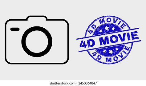 Vector outline photo camera pictogram and 4D Movie stamp. Blue round distress seal stamp with 4D Movie message. Black isolated photo camera pictogram in stroke style.