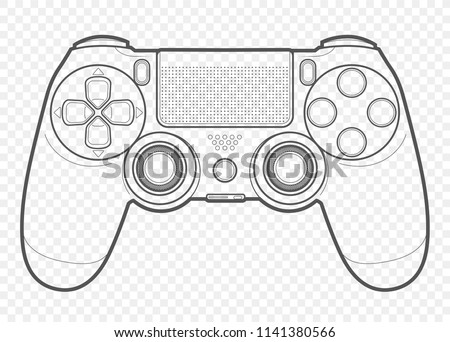 Vector Outline Playing Video Games Console Stock Vector Royalty - Video game outline