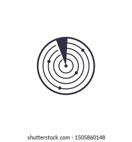 Vector outline radar icon. Scan and radiolocation target line symbol. Electronic war logo