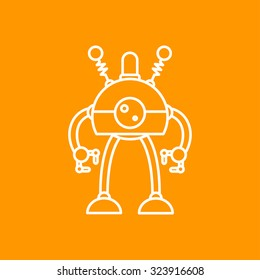 Vector outline retro robot toy icon on color background