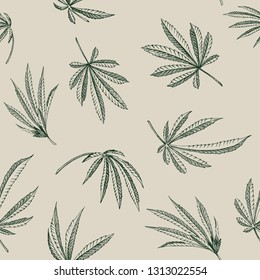 Vector outline Seamless pattern of hemp plant on a beige background cannabis texture