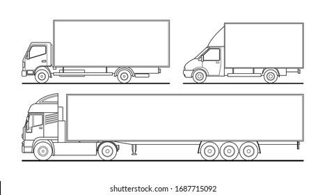 Vector outline set of different trucks, semitrailer. Blank template truck for advertising, for coloring books. Freight transportation. Modern flat vector illustration isolated on white background.