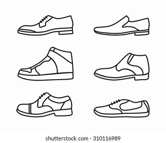 Vector outline shoes icon set