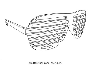 Vector outline shutter shades on white background