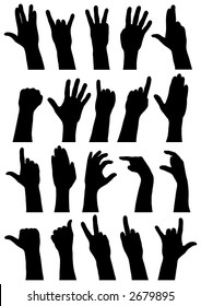 Vector outline silhouettes of various hand signs