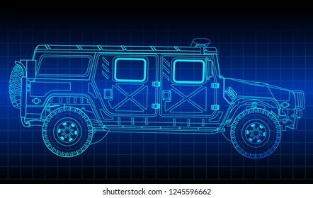 Vector outline sketch military vehicle on blueprint.