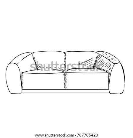 Vector Outline Sofa Stock Vector Royalty Free 787705420 Shutterstock