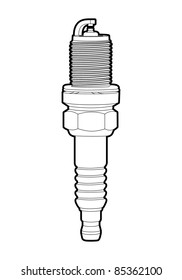 vector outline spark-plug on white background