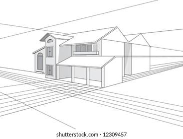 vector outline stroke file of building plan design