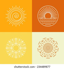 Vector outline sun icons and logo design elements - set of abstract emblems