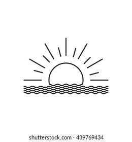 Vector outline sunset or sunrise icon. Isolated on white.