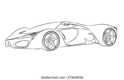 Vector outline of a supercar