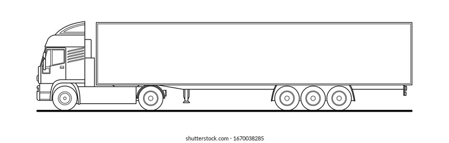 Vector outline truck, lorry, with semitrailer, side view. White blank template for truck, semi-trailer for advertising, for coloring book. Freight transportation. Modern flat vector illustration