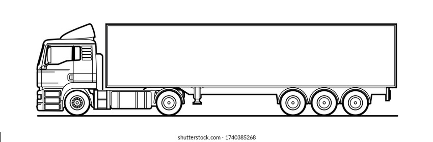 Vector outline truck, lorry, with semitrailer, side view. White blank template for truck, semi-trailer for advertising, for coloring book. Freight transportation. Modern flat vector illustration isola