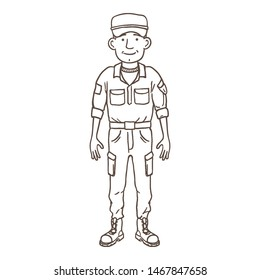 Vector Outline Young Man in Military Uniform. Soldier Character.