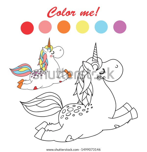 - Vector Outlined Funny Unicorn Coloring Book Stock Vector (Royalty Free)  1499073146