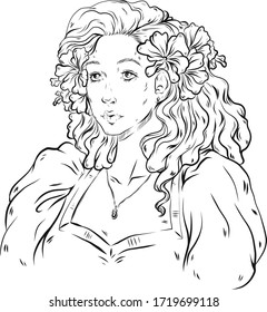 Vector Outlined Girl with flowers in hair