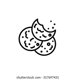 Vector outlined icon of bitten oatmeal sugar cookies with chocolate