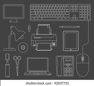 Vector outlined set of office computer devices