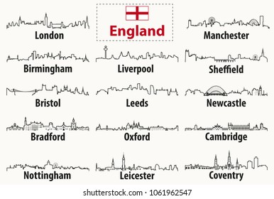vector outlines icons of England cities skylines