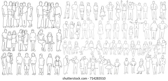 vector, outlines, people sketch collection