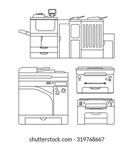 Vector outlines of printer for web, press, info graphics and other design. Set of icons. Color copy and printing equipment. Office hardware collection. Technology illustration.