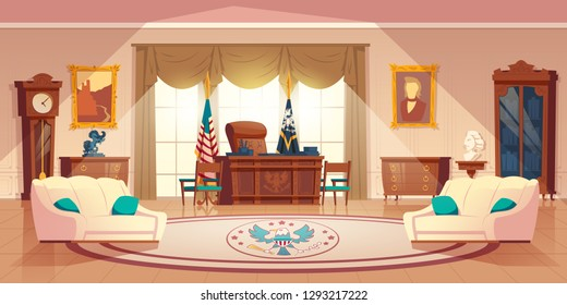 Vector oval cabinet in the white house. Cartoon interior with furniture - desk for work, sofa for rest. National flag, carpet. Workplace for president of United States of America in official residence