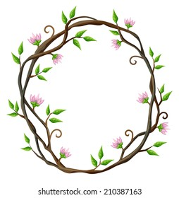 Vector oval frame of climbing plant with little pink flowers