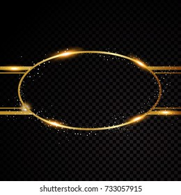 Vector oval round frame. Shining circle banner. Isolated on black transparent background Vector illustration