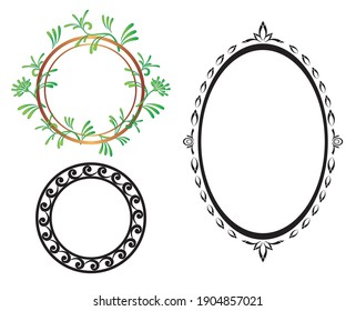 vector oval and round frames
