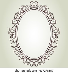 vector oval vintage frame, floral sketch design