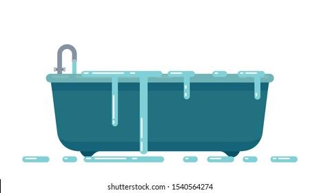 ฺBathtub vector. Overflow. wallpaper. free space for text. symbol. water overflow.