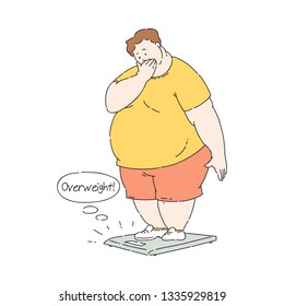Vector overweight obese unhappy man shocked by his weight standing on scale. Fat male character with obesity. Excessive weight man. Health problems connected with weight. Isolated illustration