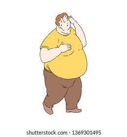 Vector overweight obese unhappy man sweating wiping sweat. Fat male character with obesity. Excessive weight man. Health problems connected with weight. Isolated illustration