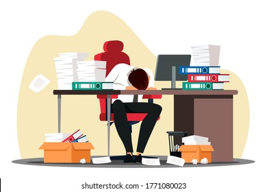 Vector overworked employee sleeping front of computer on desk with paper document folder stack at workplace. Tired office worker, company employee, exhausted businessman take nap. Fatigue and work