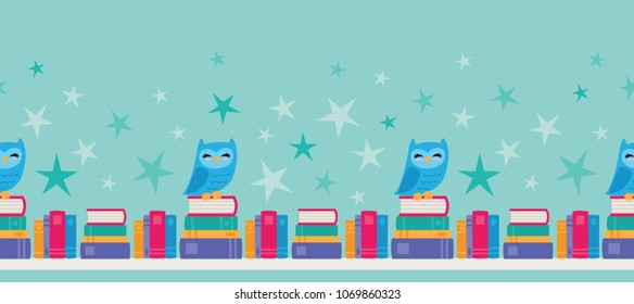 Vector Owl Bookshelf Seamless Border. Border design perfect for fabric, school, kids, scrapbooking, and home decor projects.