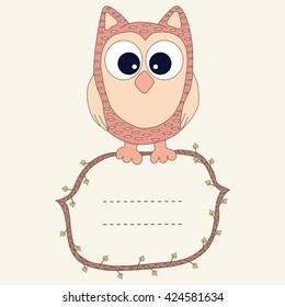 Vector owl card with frame for text. Owl card. Owl vector.