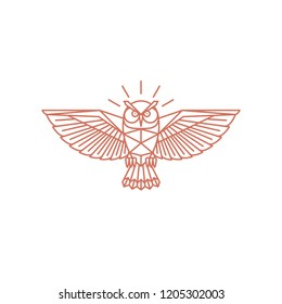 Vector Owl geometric illustration, logo design.