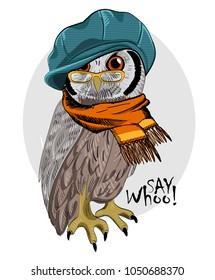 Vector owl with glasses, green cap and orange scarf. Hand drawn illustration of dressed owl.