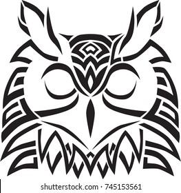 Vector Owl head silhouette celtic pagan tribal tattoo design printable home decor wall art ornament