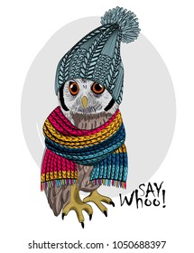 Vector owl with knitted hat and scarf. Hand drawn illustration of dressed owl.