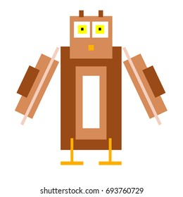 Vector owl are made of squares and rectangles