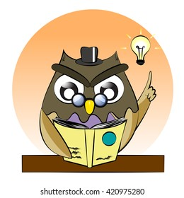 A vector of owl reading book,owl genius,clever owl read book