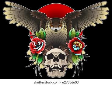 Vector Owl, Skull, Roses Composition