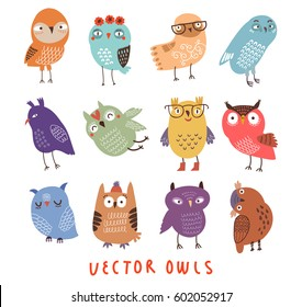 Vector owls set.