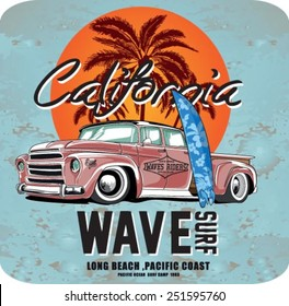 vector pacific surf wave print