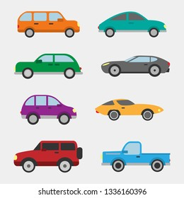 Vector pack of 8 cars, ranging from trucks to midsize cars to compact.  These are high-quality vectors easily separated for copy and paste ease.  Buy with confidence!